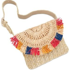 INC International Concepts Straw Fringe Belt Bag